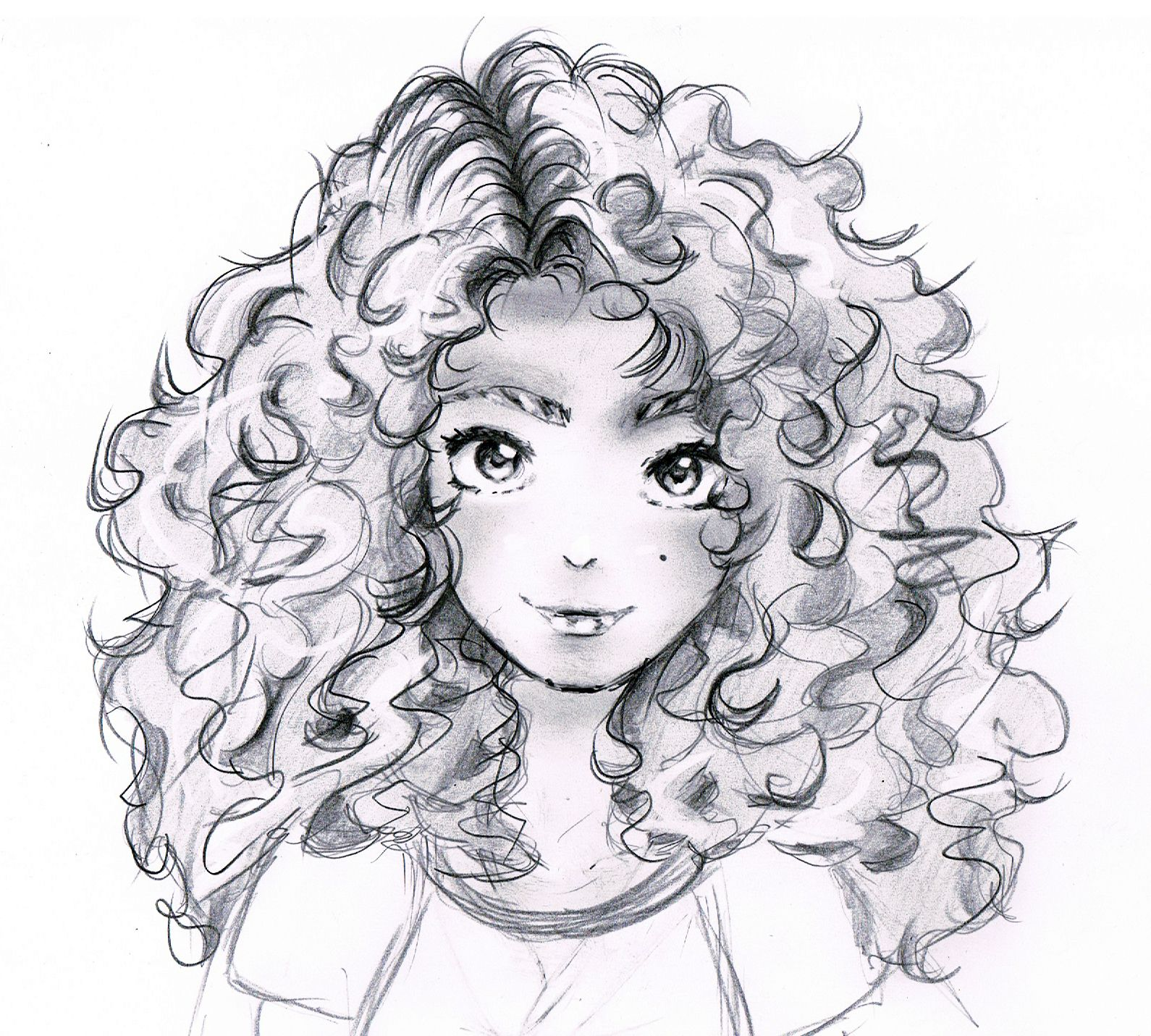 Curly hair curly hair girl anime manga pencil scetch drawing art