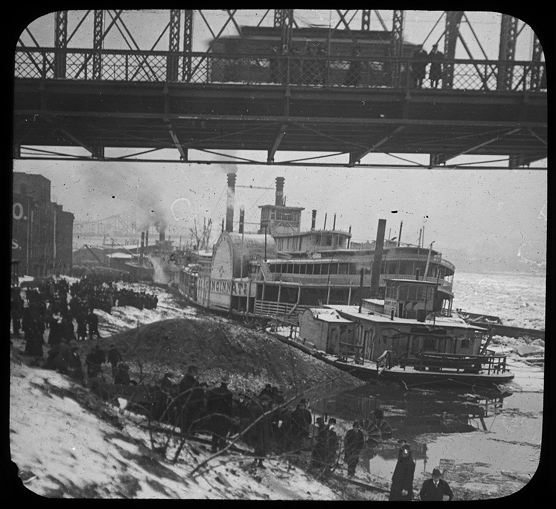 Cincylibrary Undated Photograph Steamboat In The Frozen