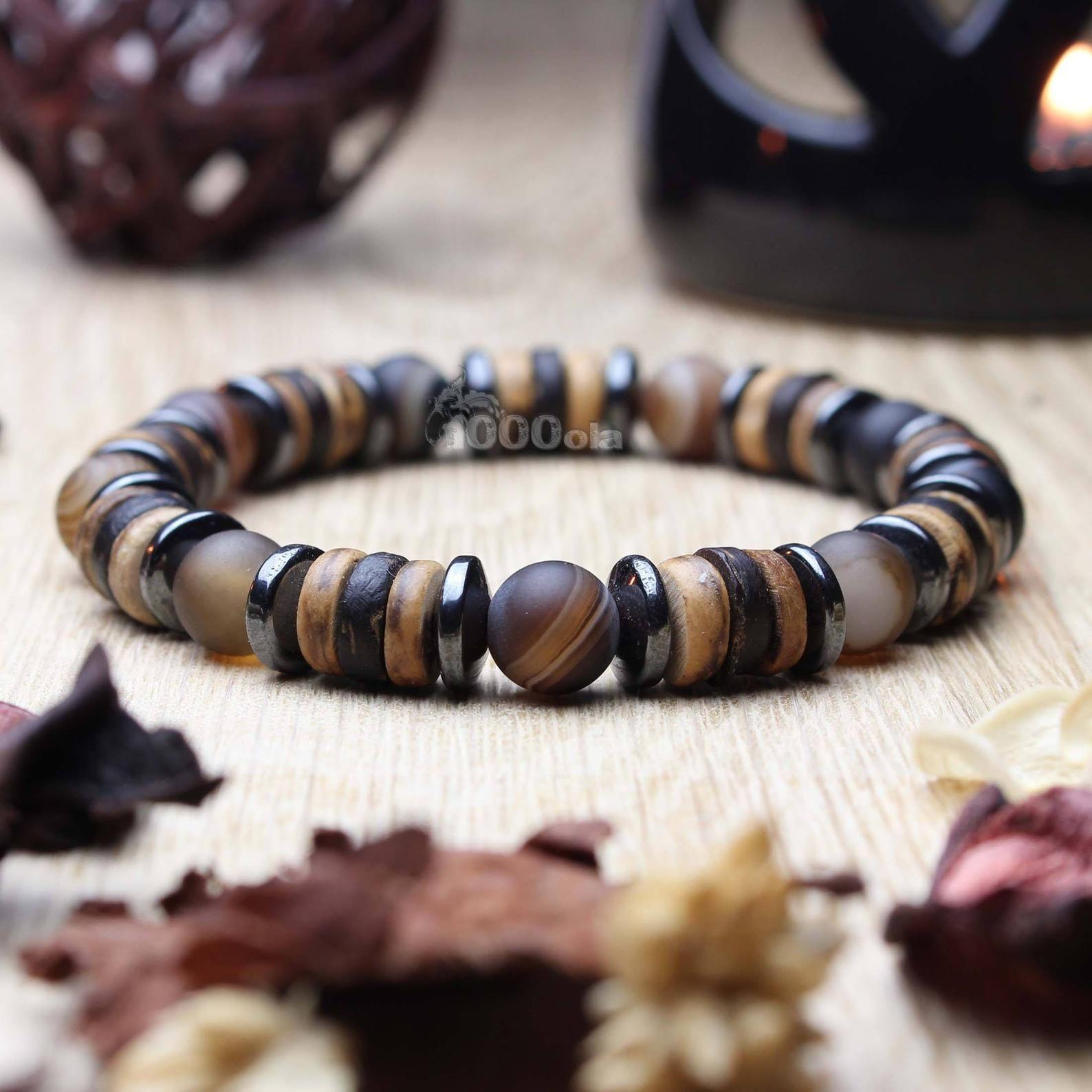 tout neuf cbbfd 52c68 Beautiful men/women Bracelet beads Ø 8mm natural stone beige ...