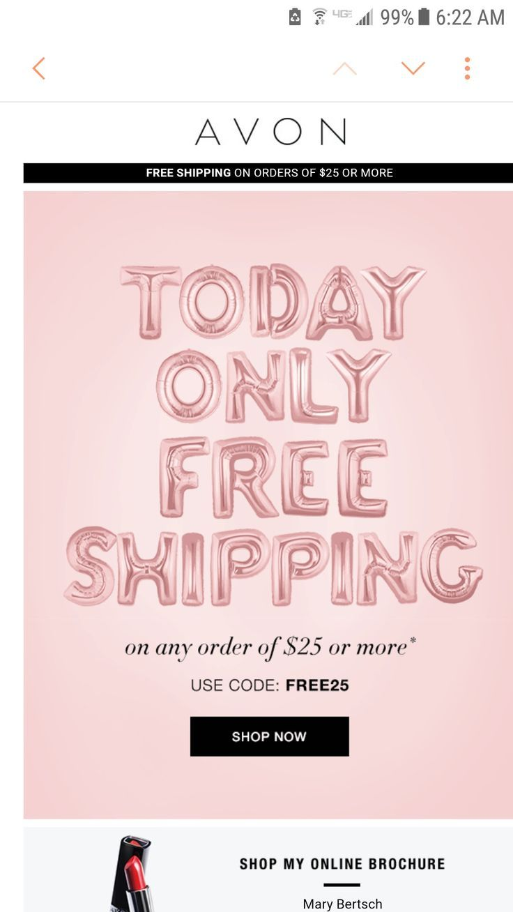 Avon free shipping today! Shop online for makeup and more