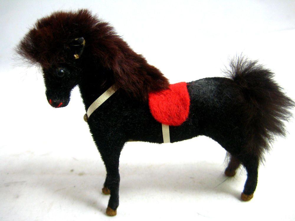 Way too cute little horsie! :) Vintage Western Germany Kunstlerschutz Black Pony Real Fur #Kunstlerschutz #pony #horse #toy