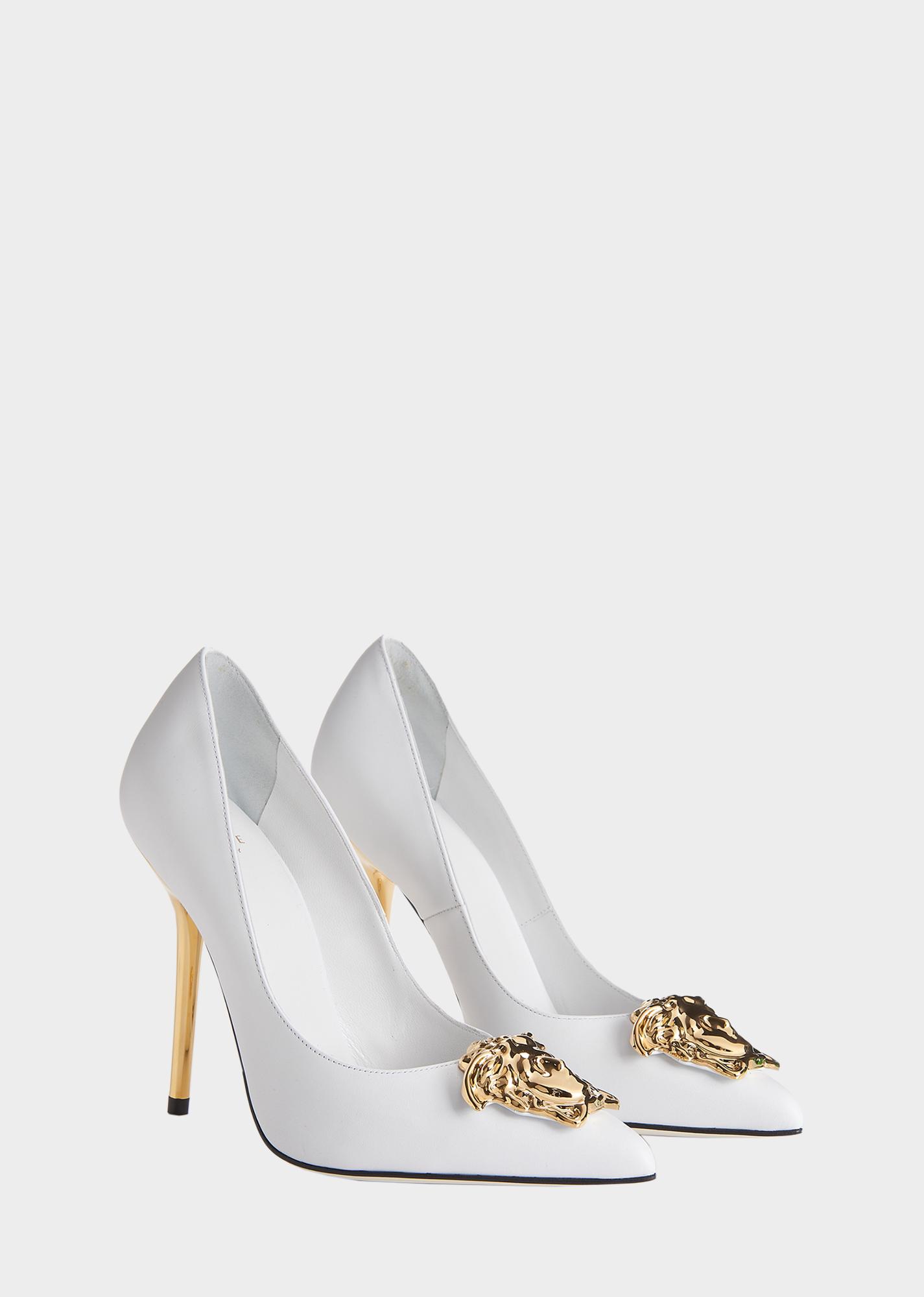 Palazzo pumps - heel 11 cm - White/Gold