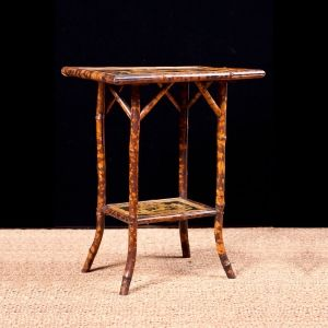 Antique English Bamboo Table With Faux Tortoise Finish C 1900