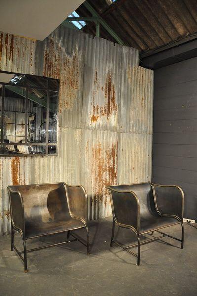 Pair Of Unusual Metal Armchairs C 1950 Metal Armchair Industrial Farmhouse Decor Modern Industrial Decor