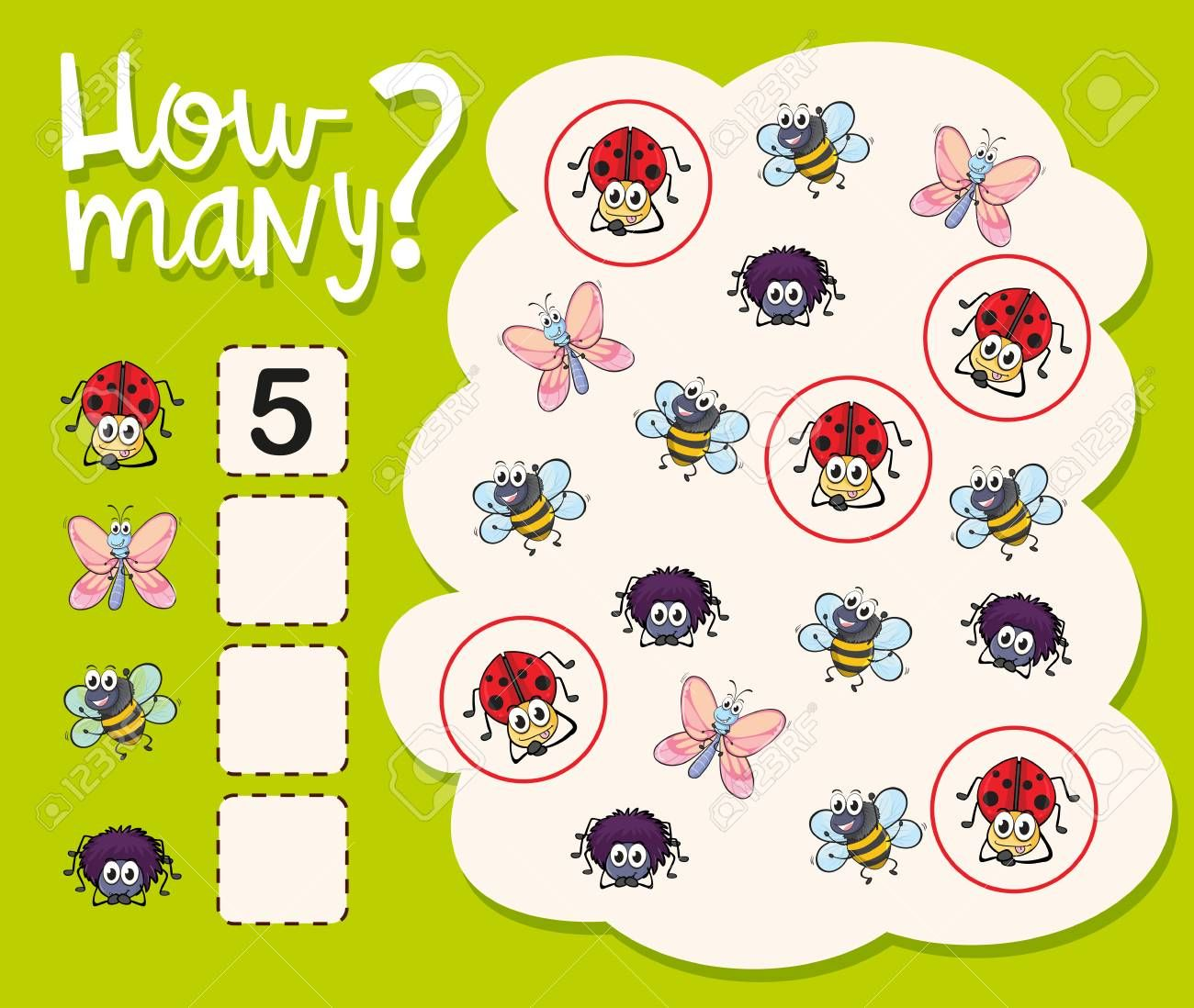 How Many Worksheet With Many Insects Illustration