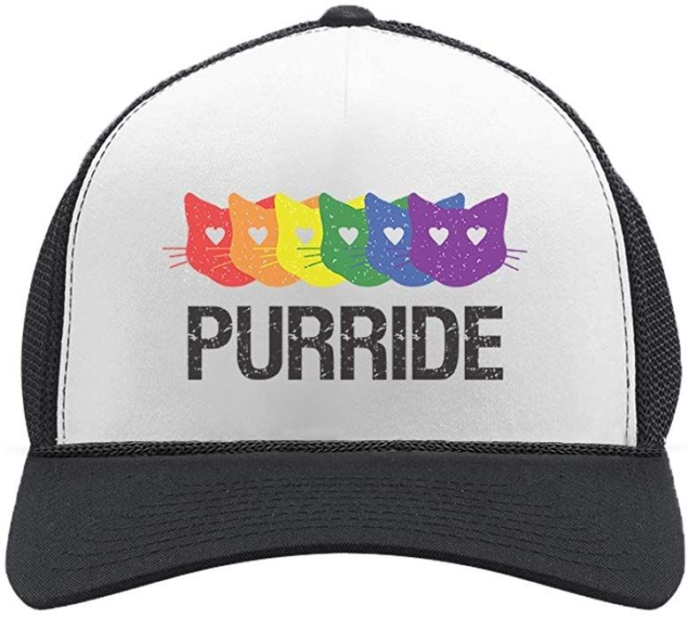 06027cc31da0a Purride Gay   Lesbian Pride Cat Lover Rainbow Flag Parade Trucker Hat Mesh  Cap One Size