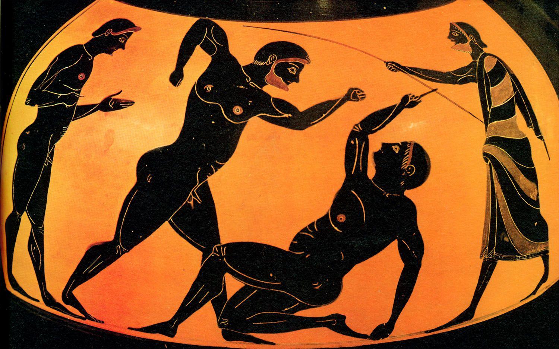 Greek Vase Painting Ca 6th Century Ancient Olympics Ancient Greek Art Greek Art