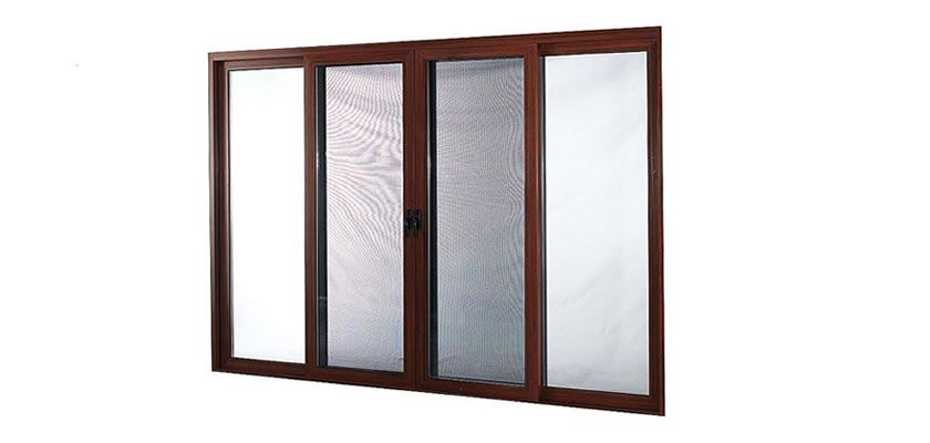 It is a double panel sliding window with a wooden frame installed ...