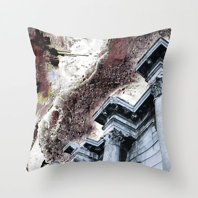 Pathenon & Ladybug Throw Pillow. © by Pia Schneider | atelier COLOUR-VISION. #pillow #throwpillow #pathenon #athens #greece #collage #photography #piaschneider #ateliercolourvision #home #decor #society6