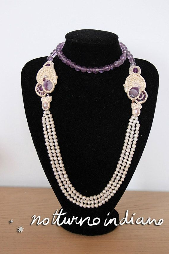 soutache necklace with pearls and amethyst by notturnoindiano, €150.00
