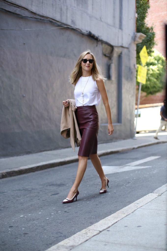 d6a5878ae f burgundy bcbg a line leather skirt camel wrap coat vest lariat necklace  spectator tory burch pumps work wear fashion style blog san francisco
