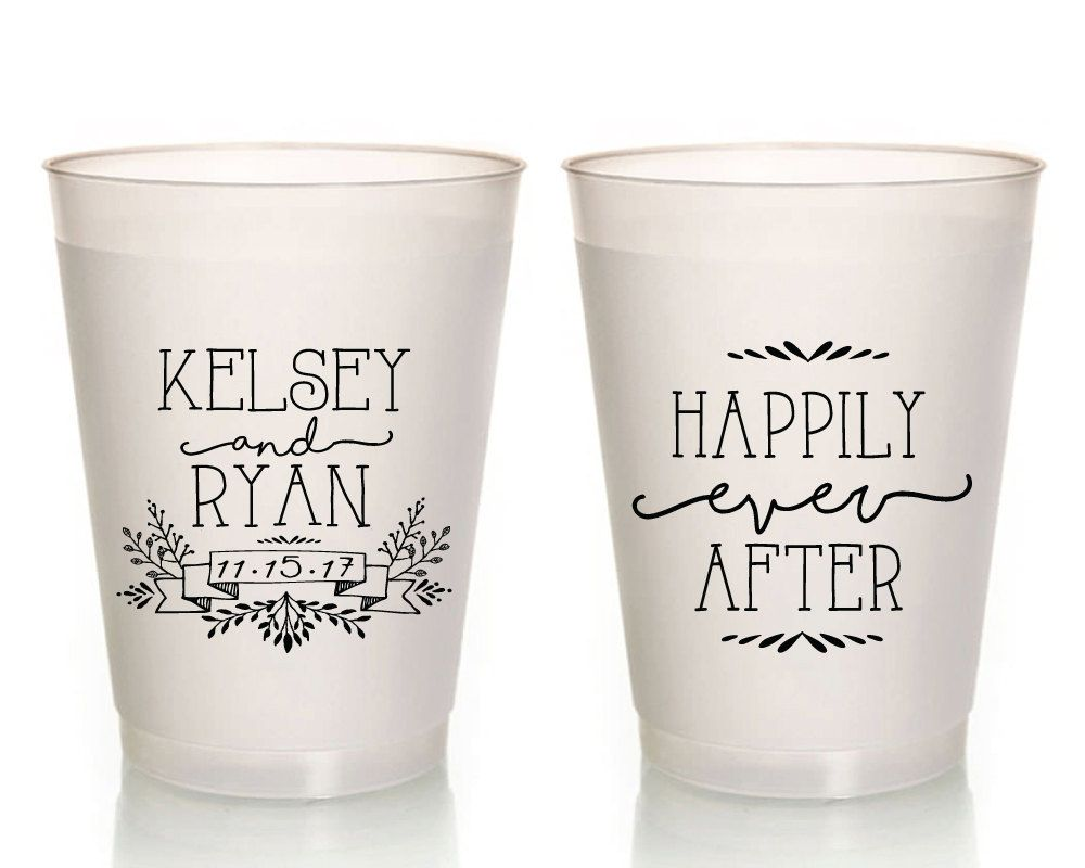 New To Siphipay On Etsy Personalized Wedding Cups Hily Ever After Custom Favor Frosted
