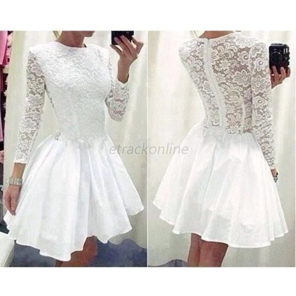 Women Long Sleeve Summer Cocktail Party Slim Dress Lace Floral Tutu Dress A41