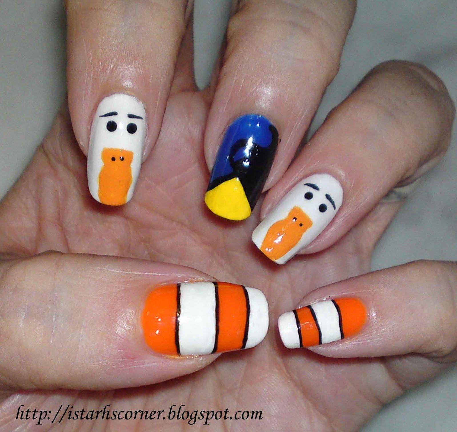 Finding Nemo Nails   kids nail design   Pinterest