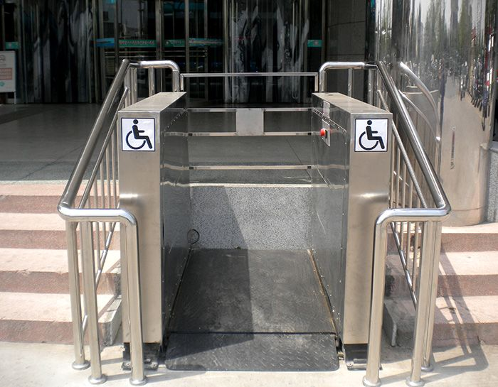 Wheelchair Lift Can Be Used Outdoor In Public Buildings, For Better  Movement Of Disabled Or