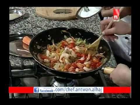 Teleliban 2014 05 19 معكرونة صينية بالخضار والقريدس الشيف انطوان الحاج Main Dishes Dishes Saute Pan