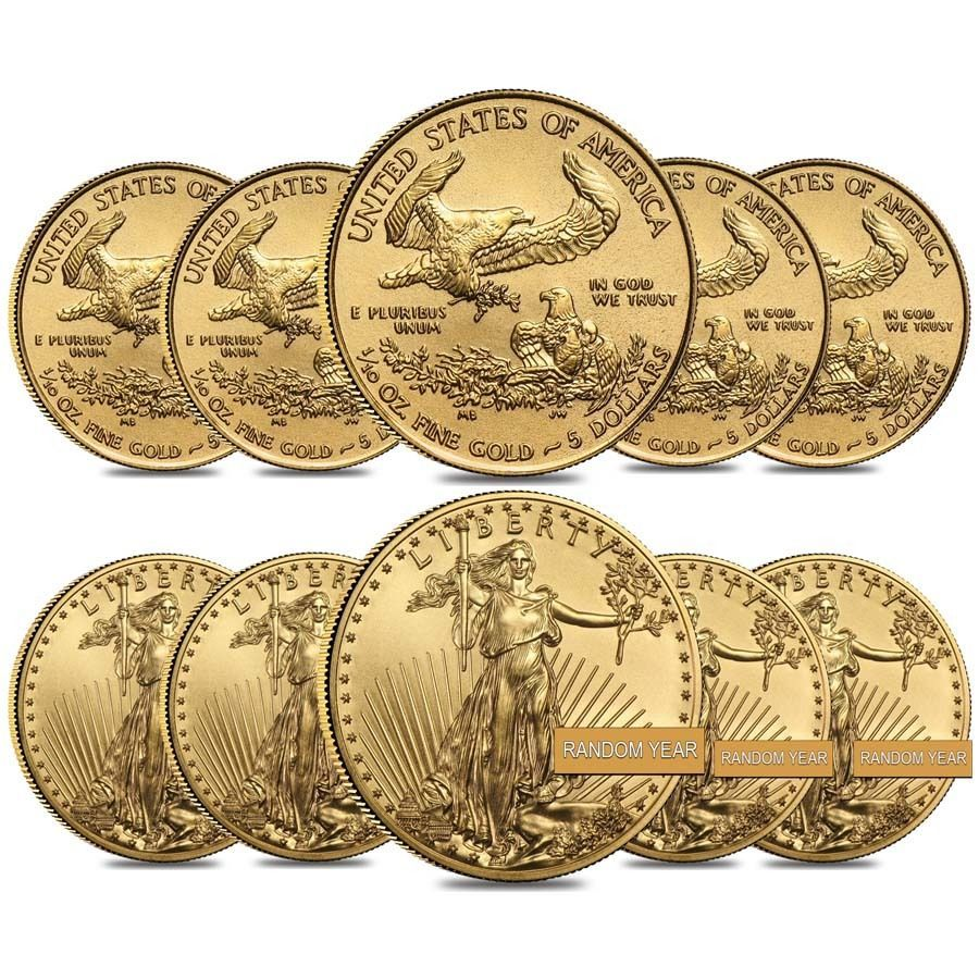 Lot Of 10 1 10 Oz Gold American Eagle 5 Coin Bu Random Year Gold Bullion Coins Gold American Eagle Gold Eagle Coins
