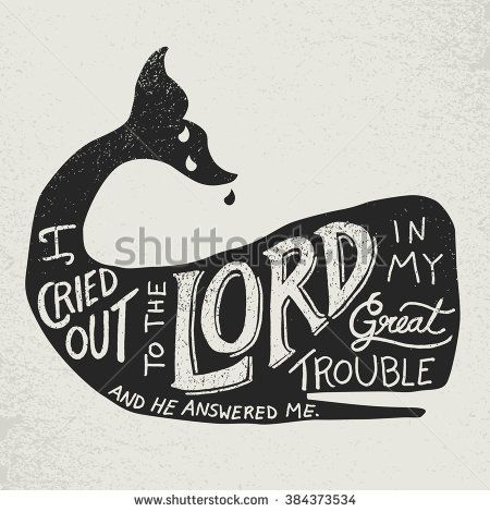 Bible quote in hand lettering inside a whale silhouette from the book of Jonah