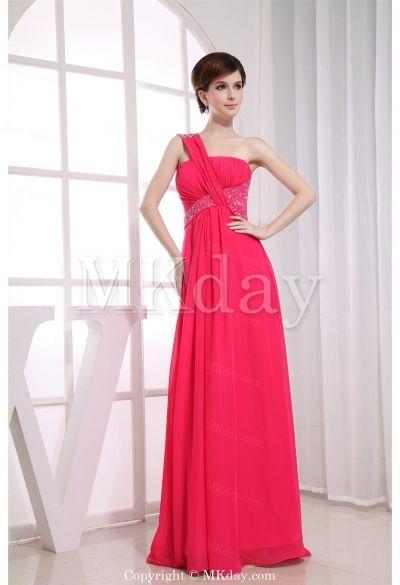 Floor-Length Chiffon One Shoulder Date Dress