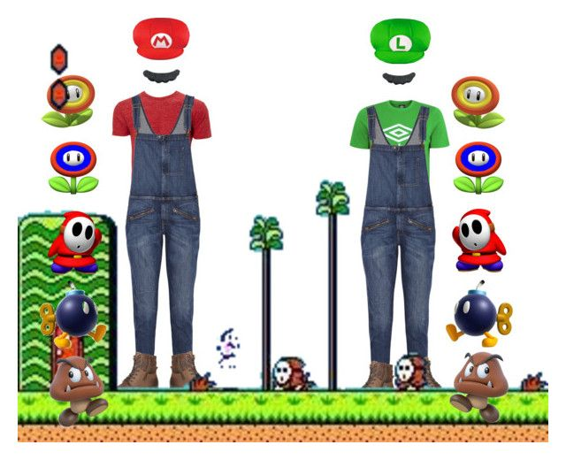 """""""Super Mario Broskinators"""" by ximihix ❤ liked on Polyvore featuring Current/Elliott, George, Marc New York and Nintendo"""
