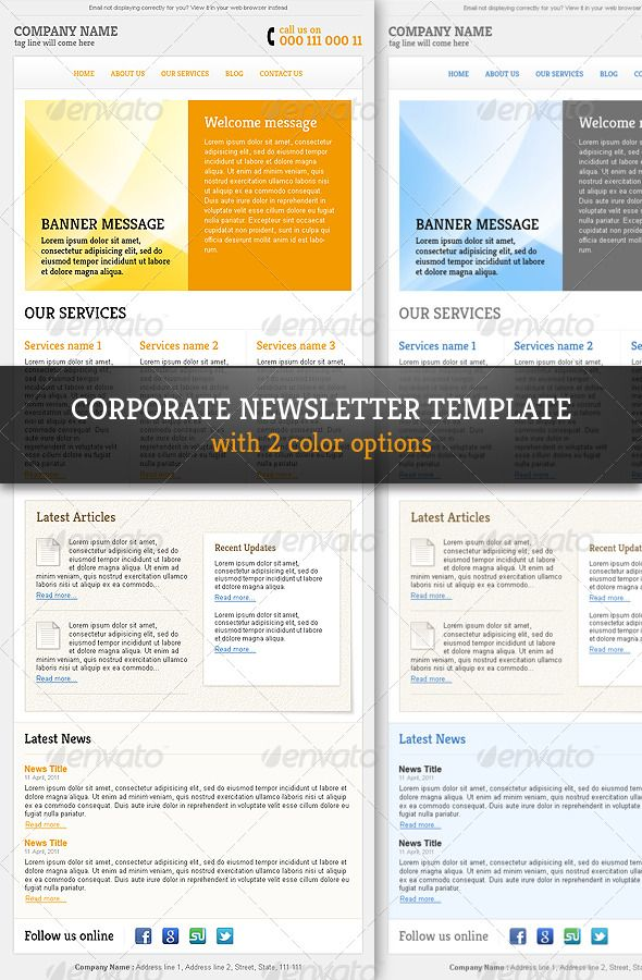 Corporate & Professional Email Newsletter Template - #E