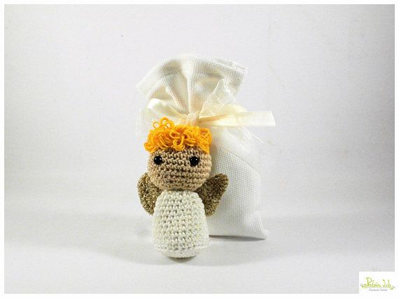 Tutorial Angioletto Amigurumi : Little angel amigurumi little candy angel with bag baptism favor