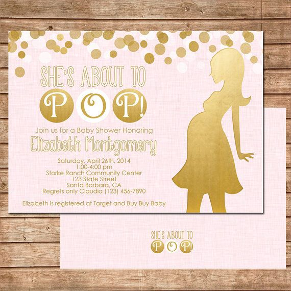 Sheu0027s About To Pop! Baby Shower Invitation In Pink And Gold For A Baby Girl