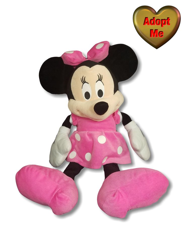 Disney Just Play 24in Large Minnie Mouse In Pink Polka Dot Dress