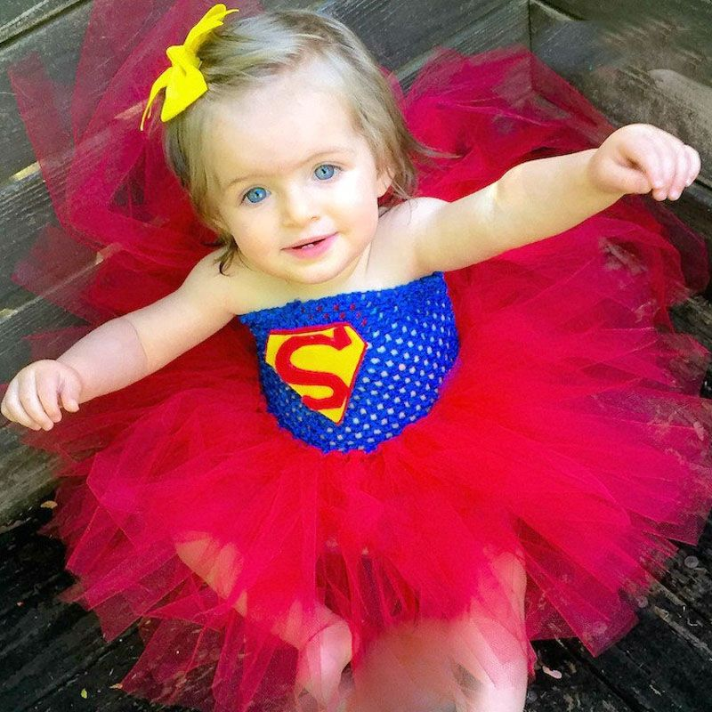 Super Hero Inspired Tutu Dress Halloween Birthday Party Costume Batman Superman Baby Girl Photo