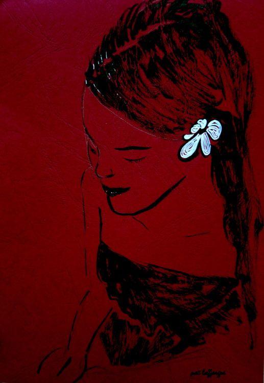 Femme douce à l'orchidée (Dessin),  21x29,7 cm par Maï Laffargue dessin à…