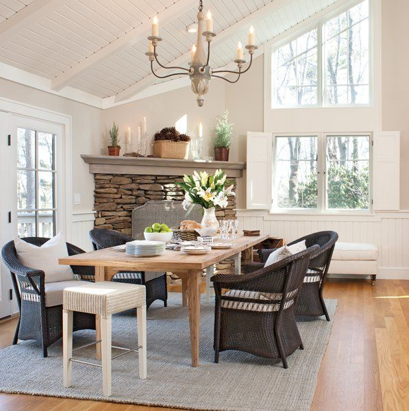 Dining Room With Refined Rustic Lighting