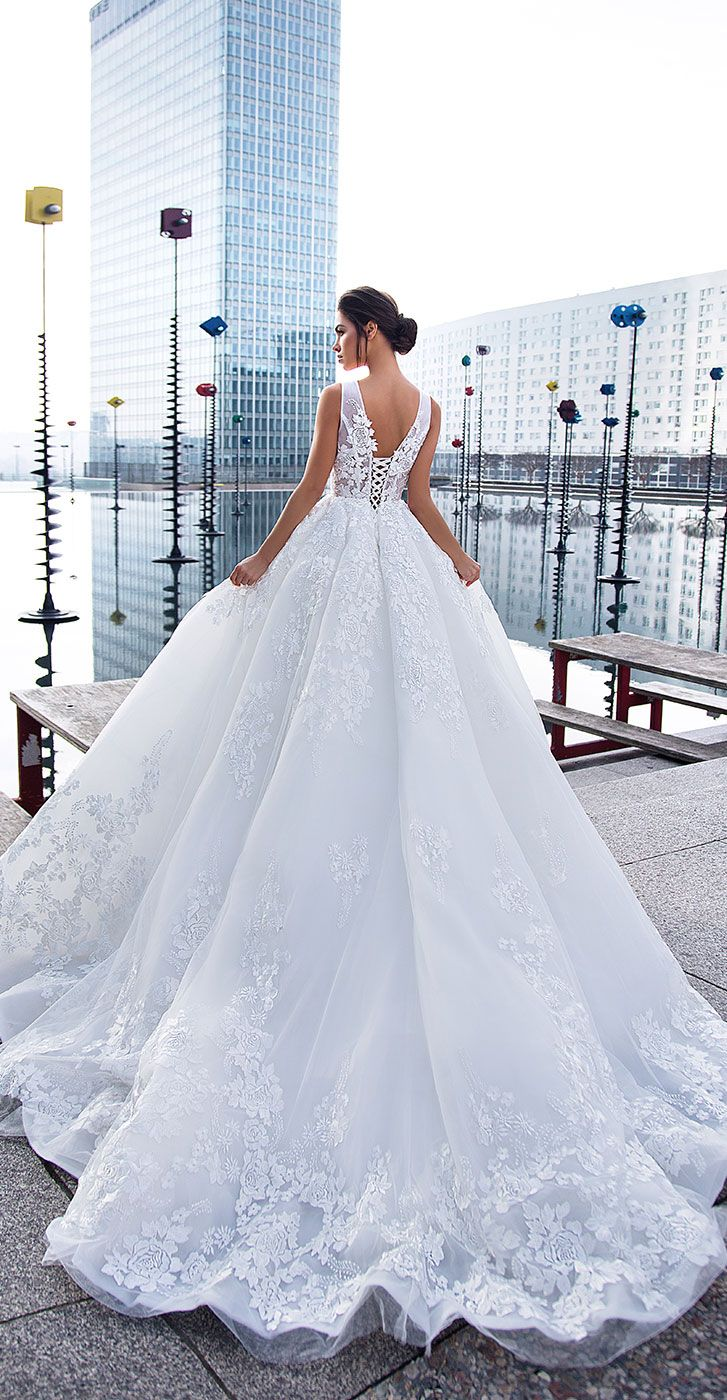 Sleeveless embroidered with lace, pearls and rhinestones ball gown wedding dress #wedding #weddings #weddinggown