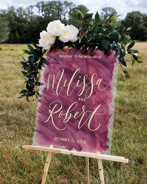 New Custom Wedding Painted Back Acrylic Sign Vertical Etsy Wedding Welcome Signs Wedding Signs Wedding Painting