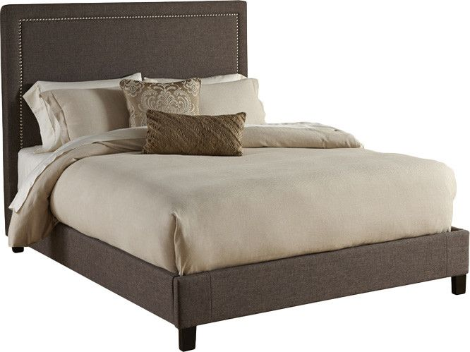 Gorgeous neutral, upholstered bed with clean, modern lines.