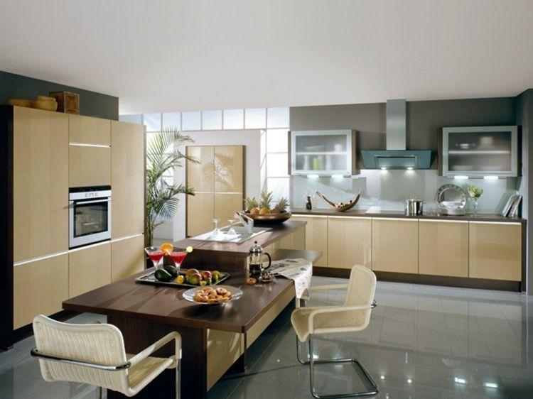 Aménager une cuisine design avec ilot central - cuisine avec ilot central et table