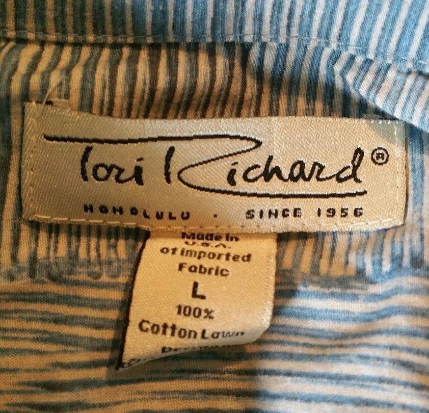 Mens Hawaiian Shirt Tori Richard size L Bamboo Design EUC #ToriRichard #Hawaiian