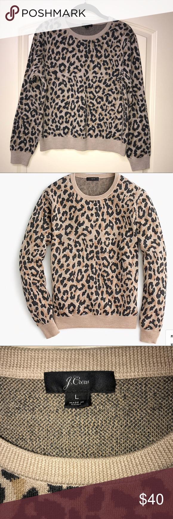 J Crew Merino Crewneck Leopard Sweatshirt Leopard Sweatshirt J Crew Sweatshirts [ 1740 x 580 Pixel ]