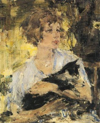 Nicolai Fechin (1881-1955) : Tuppy with her Cat.