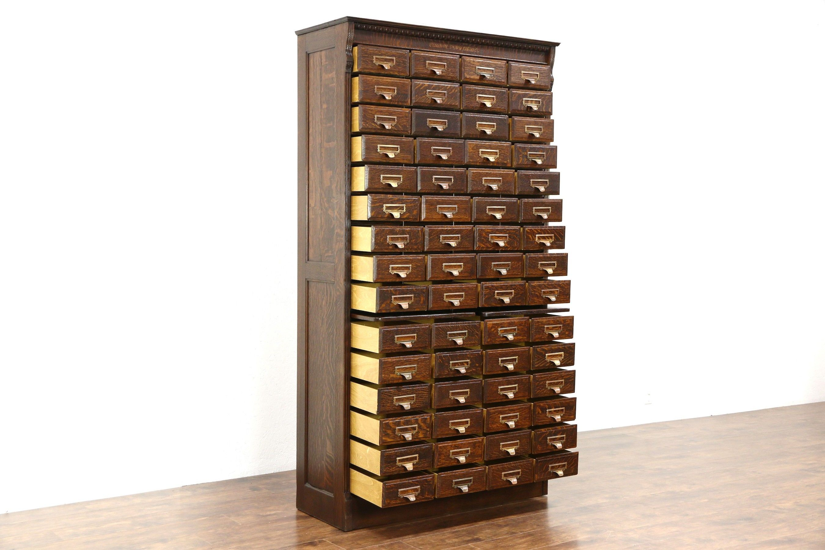 Oak 60 Drawer Antique 1895 File Cabinet Signed Shannon Yawman Rochester Ny Antique Cabinets Tool Storage Cabinets Printers Drawer