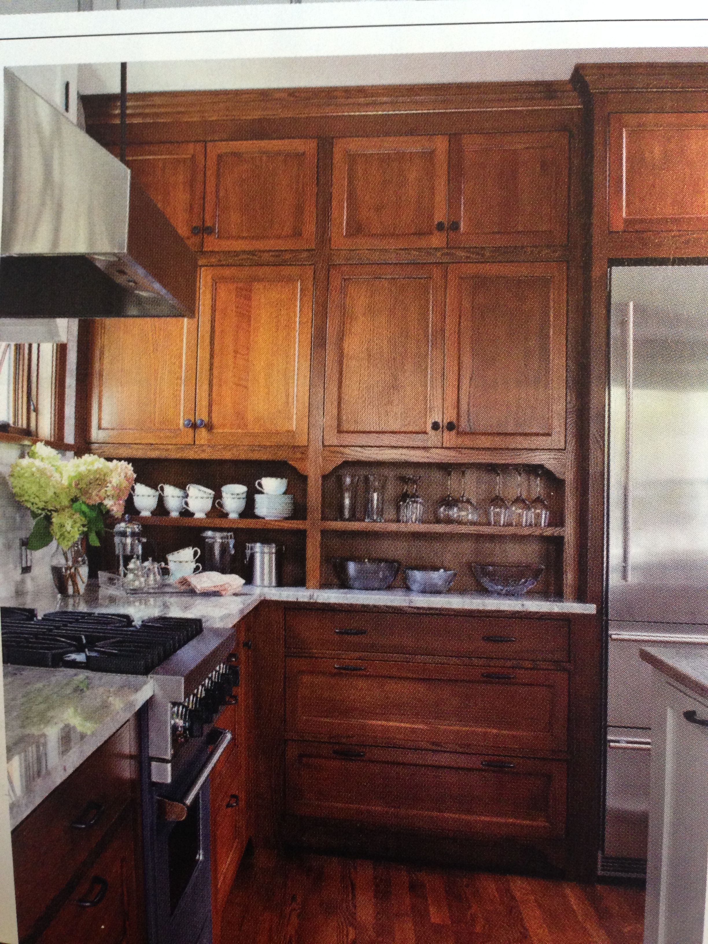 Stained Wood Cabinet Kitchen I Like The Extra Shelf Between The Countertop And Cupboards Bungalow Kitchen Wood Kitchen Cabinets Home Kitchens