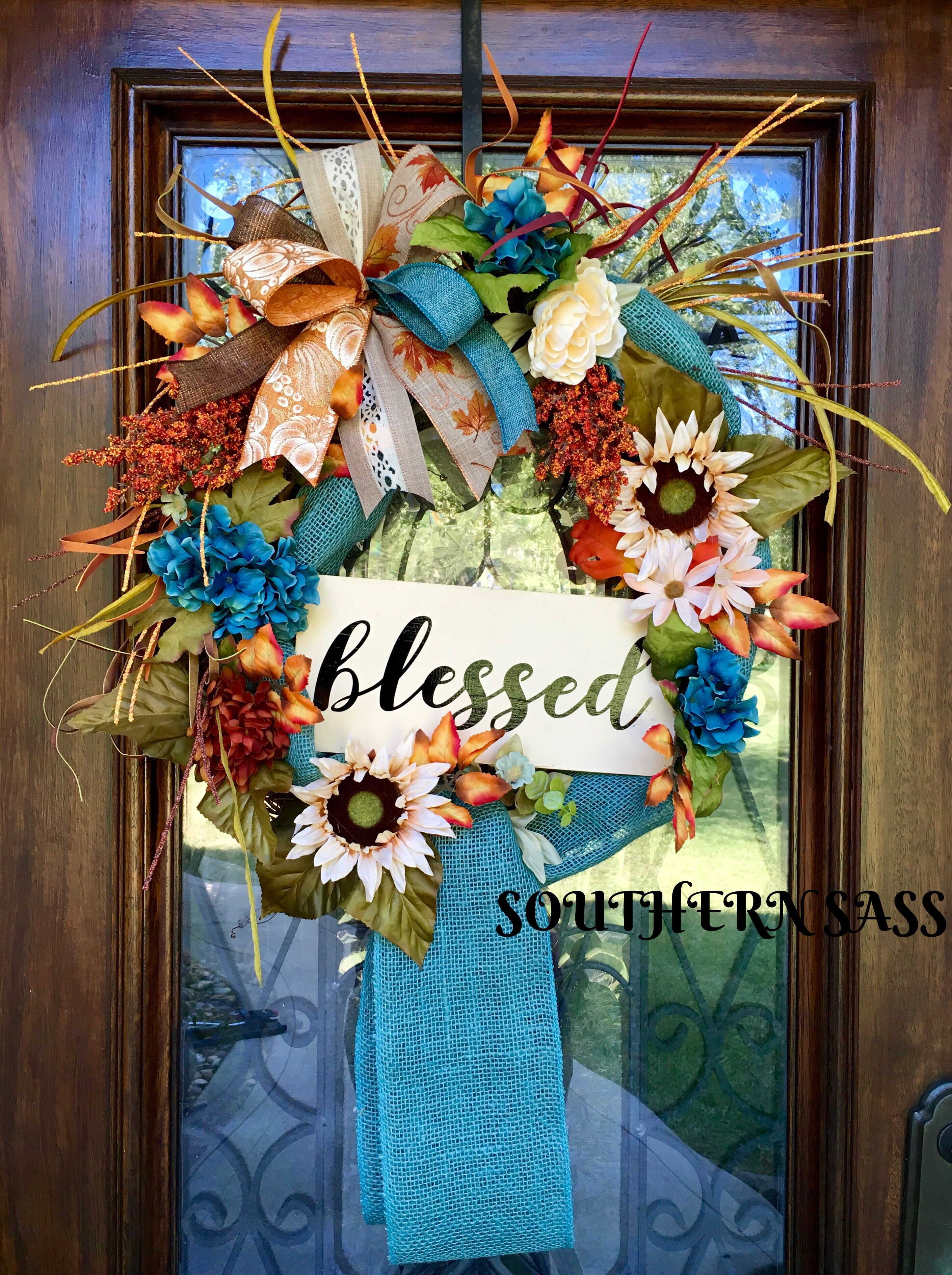 Fall Thanksgiving Wreath With Teal And Orange Accents