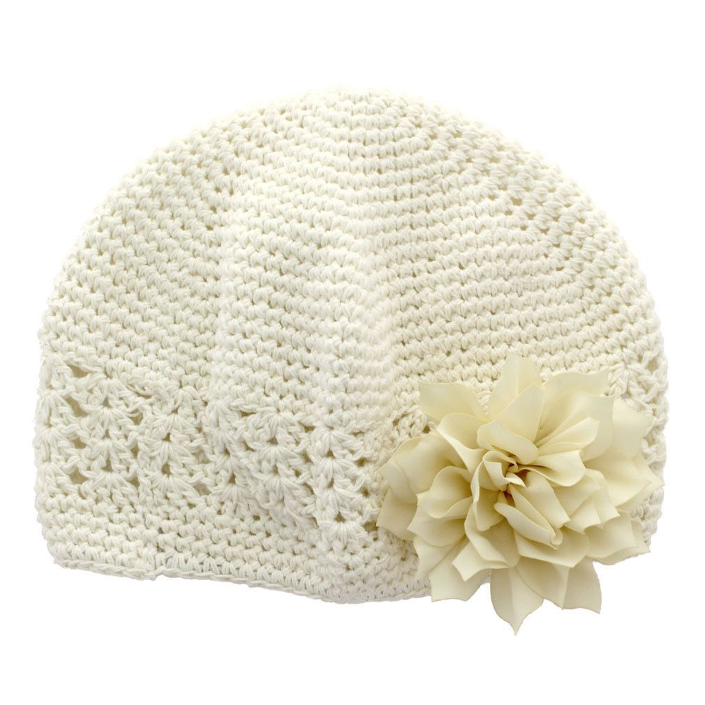9f319c2d17a Baby Kufi Crochet Beanie Hat - ivory cotton kufi beanie with removable  ivory petal blossom hair flower. Flower is attached to a hair clip that can  be ...