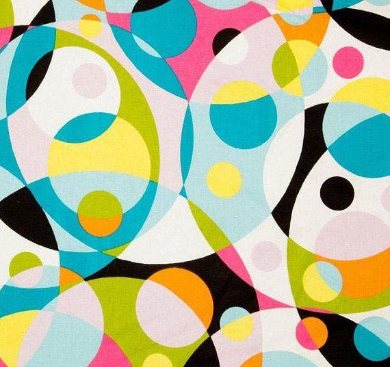 Modern print blue orange pink black fabric by the yard for Modern home decor fabric prints