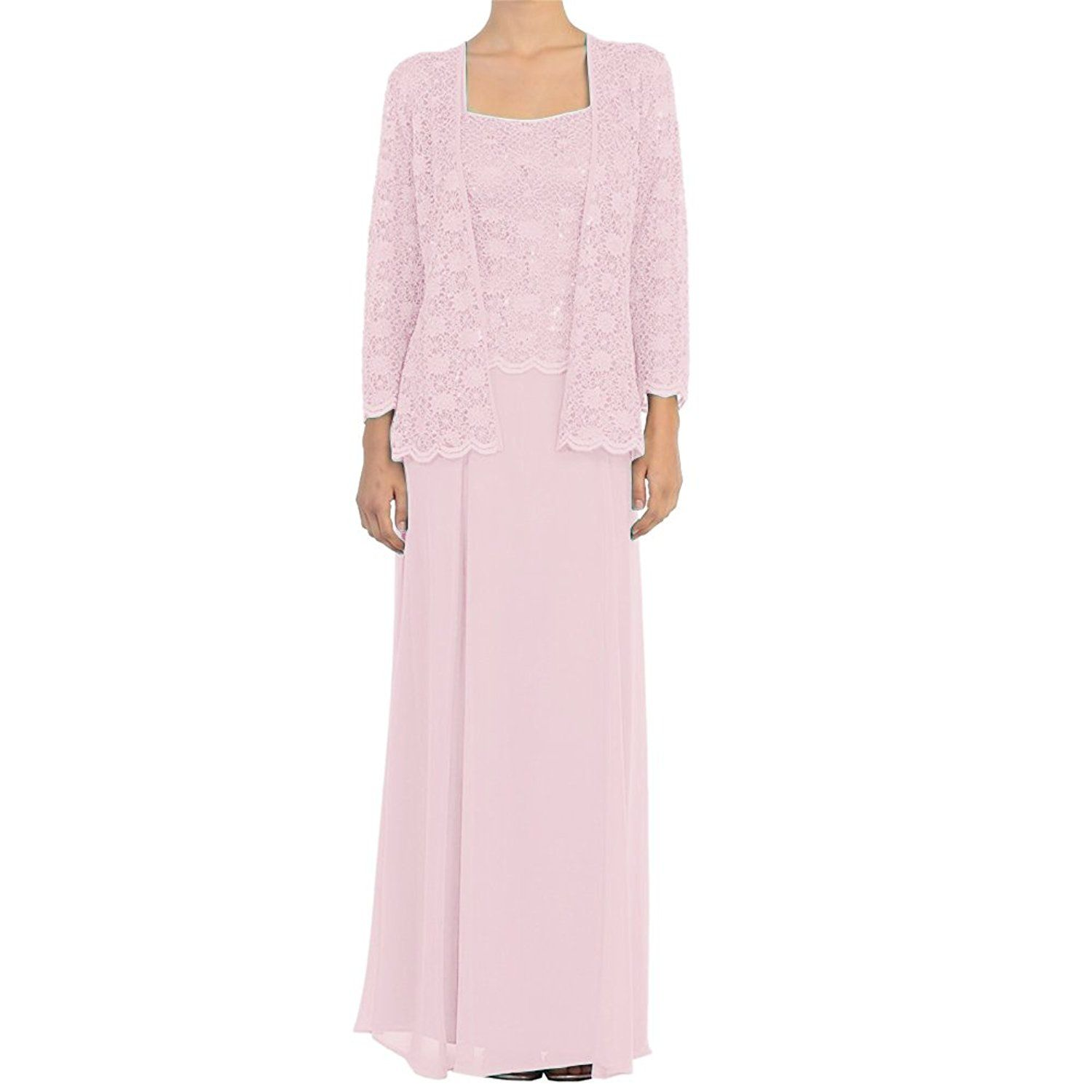 97f8e43c37c H.S.D Mother of the Bride Dress Chiffon Long Formal Gowns with Jacket Light  Pink at Amazon