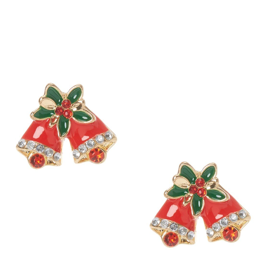 Christmas Holly Bells Stud Earrings | Get into the Christmas spirit ...