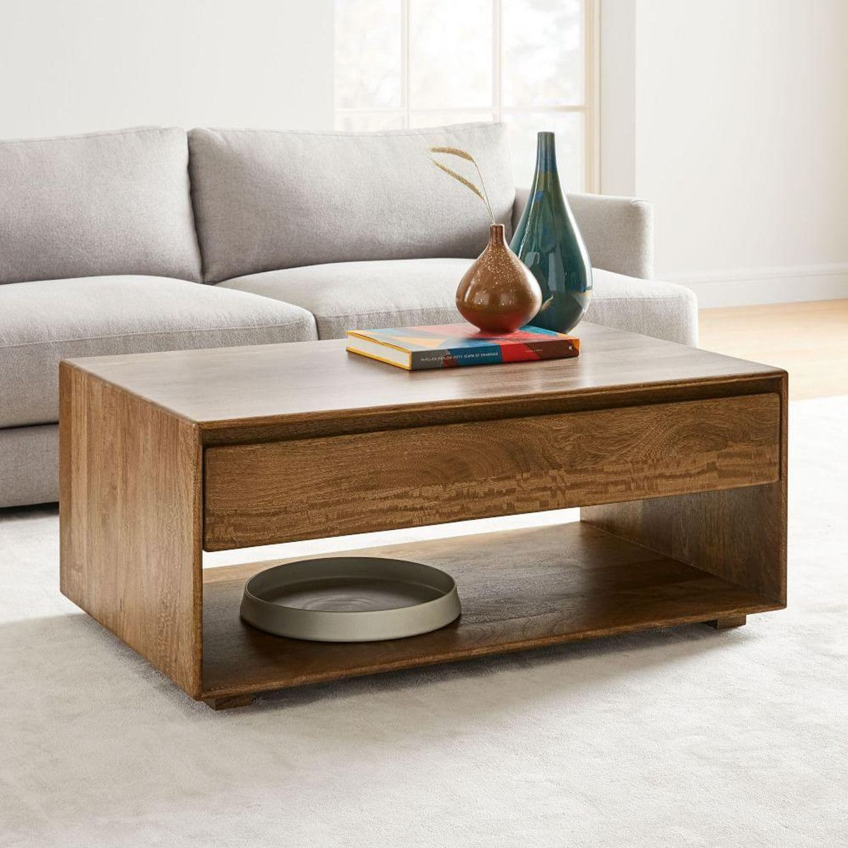 Anton solid wood storage coffee table west elm united