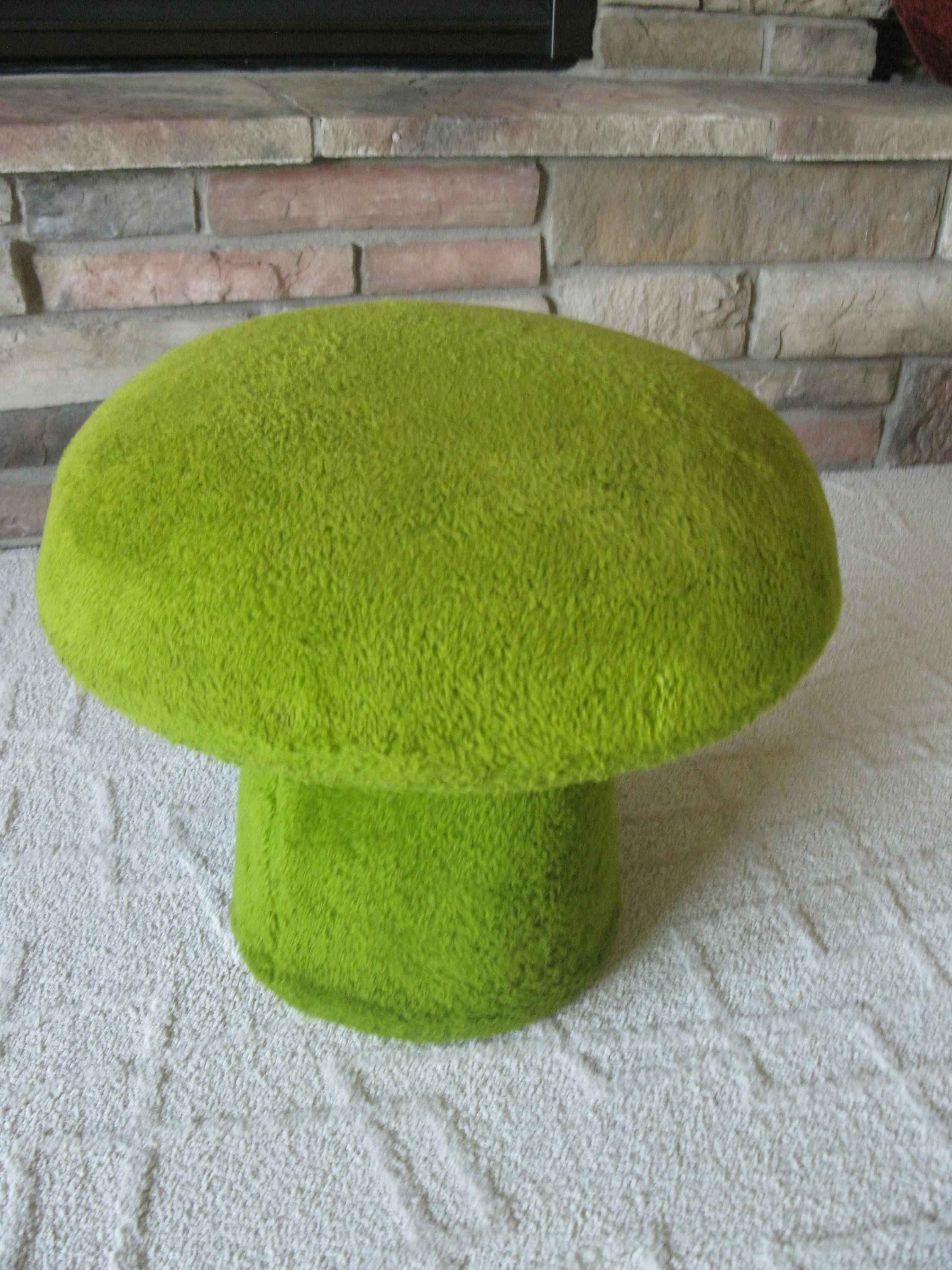 Groovy Mushroom Ottoman 1960S70S Plush Avocado Green Footstool Hassock Mad