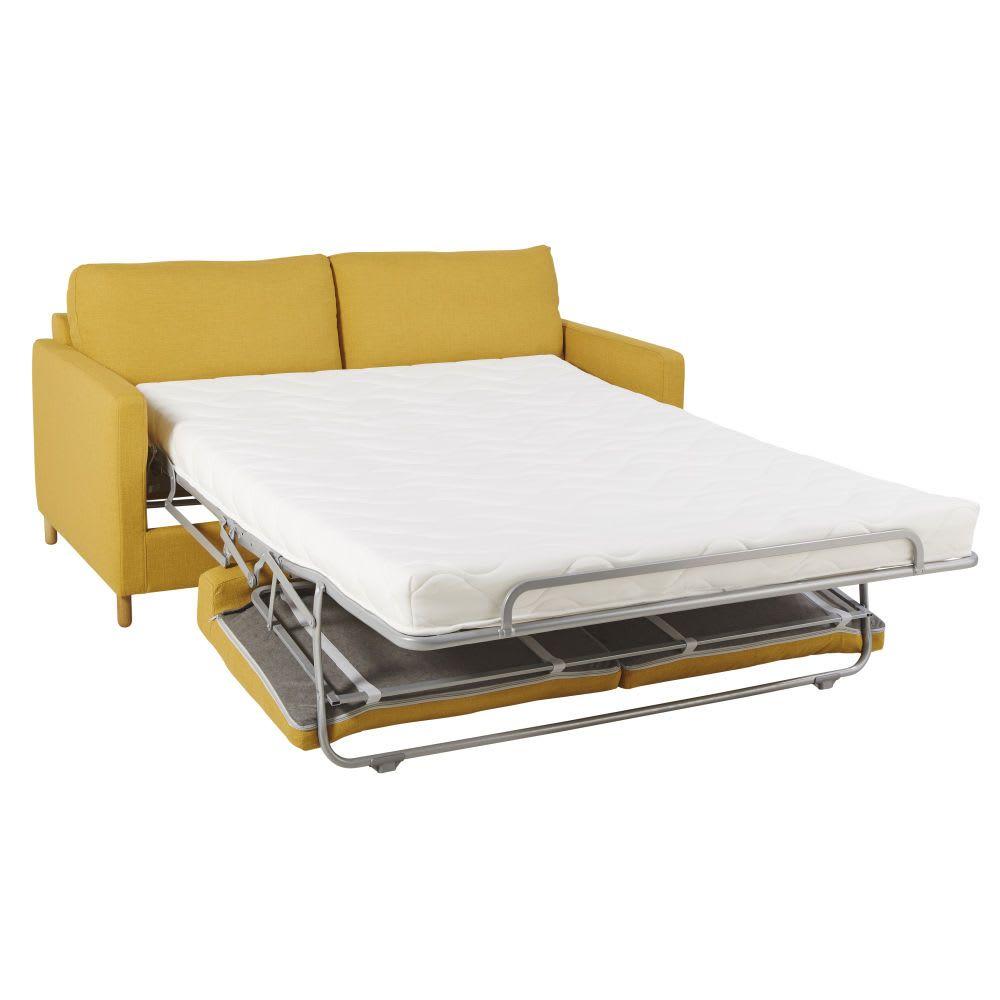 canape lit 3 places jaune moutarde