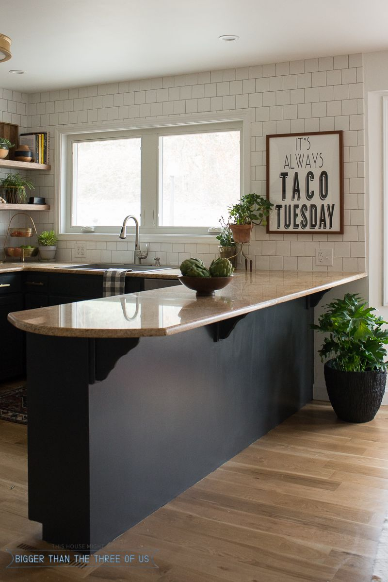 Bar pulls for kitchen cabinets - Fabulous Kitchen Update Reveal I Love The Open Shelving Dark Blue Cabinets That