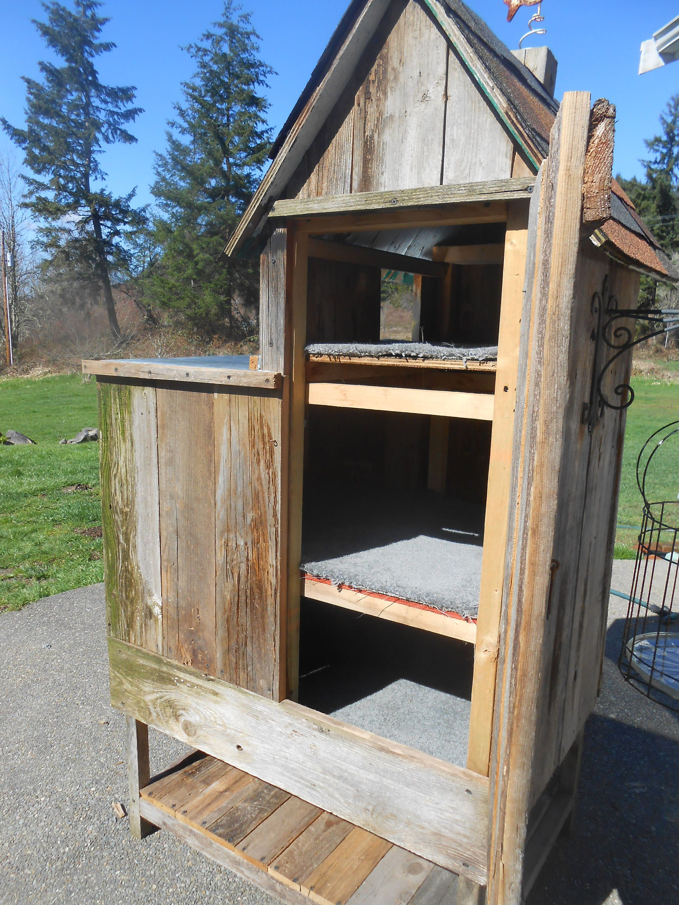 Outdoor Cat House Design Plans: Cat House, Outdoor Cat Home, 3 Stories, Reclaimed Barn